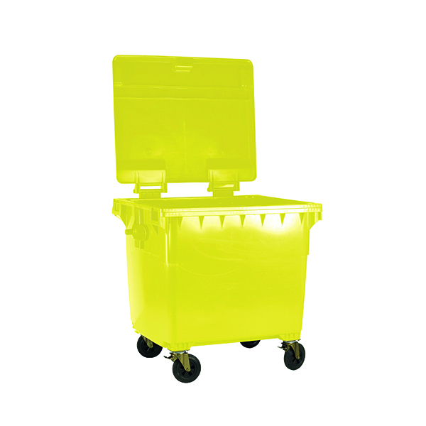 Wheelie Bin With Flat Lid 1100 Litre Yellow 377397