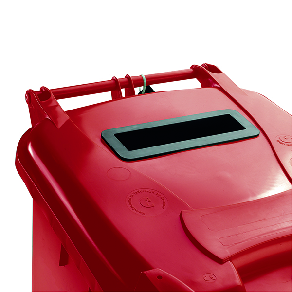 Confidential Waste Wheelie Bin 140 Litre Red 377903