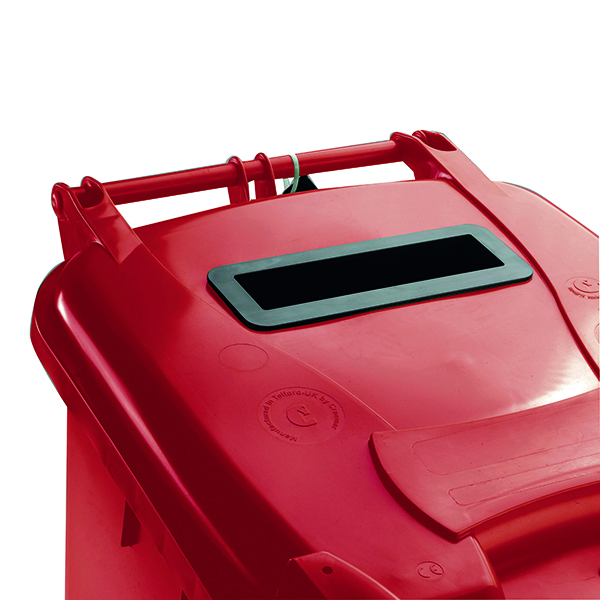 Confidential Waste Wheelie Bin 240 Litre Red 377909