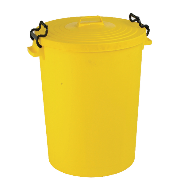 Light Duty Dustbin With Lid 110 Litre Yellow 382069
