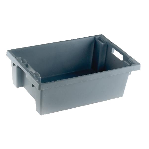 VFM Grey Solid Slide Stack/Nesting Container 32 Litre 382963