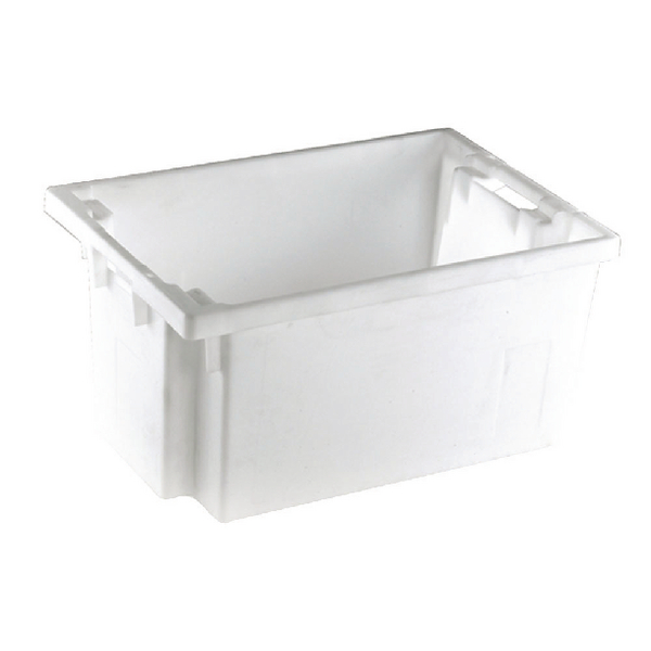 Solid Slide Stack/Nesting Container 600X400X300mm White 382965