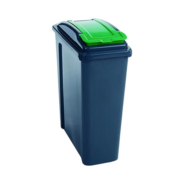 VFM Recycling Bin With Lid 25 Litre Green (Dimensions: W190 x D510 x H400mm) 384284