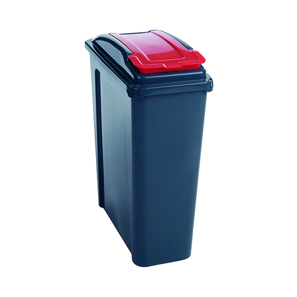 VFM Recycling Bin With Lid 25 Litre Red 384285
