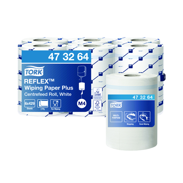 Image for Tork Reflex M4 Centrefeed Roll 2-Ply 150m White (Pack of 6) 473264