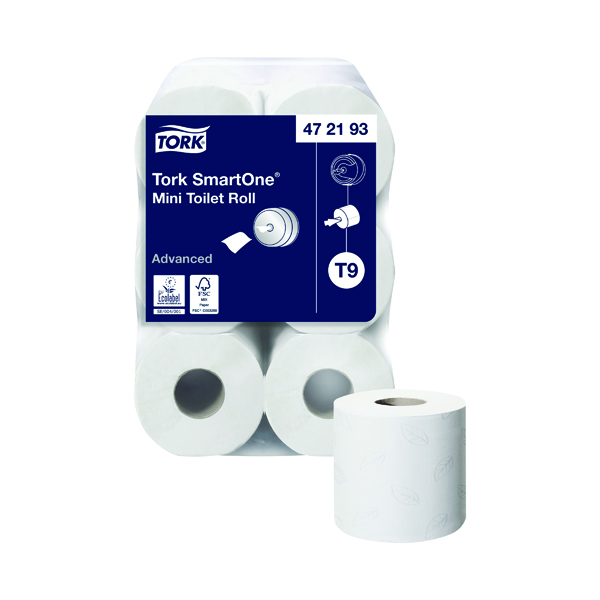 Tork T9 SmartOne Mini Toilet Roll 2-Ply 620 Sheets (Pack of 12) 472193