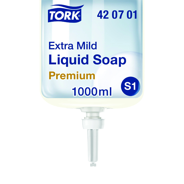 Tork Extra Mild Liquid Soap Refill S1 Non Perfumed 1 Litre (Pack of 6) 420701