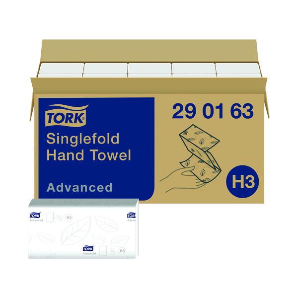 Tork Singlefold Hand Towel H3 White 250 Sheets (Pack of 15) 290163