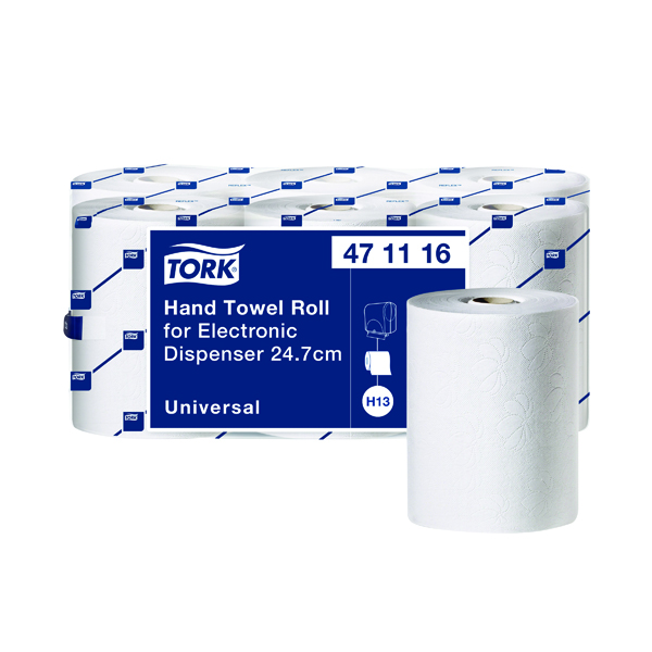Tork Hand Towel Roll 1-Ply White For Electronic Dispenser (Pack of 6) 471116