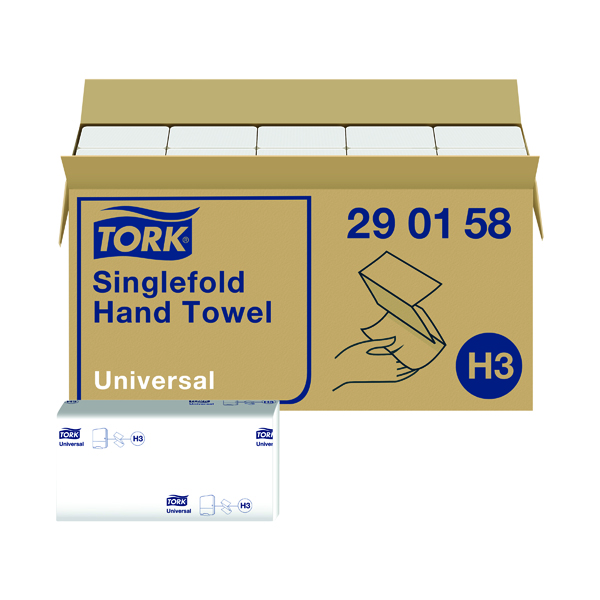 Tork Singlefold Hand Towel H3 White 300 Sheets (Pack of 15) 290158