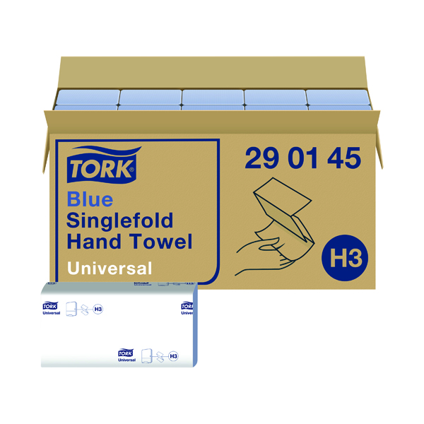 Tork Singlefold Hand Towel H3 Blue 200 Sheets (Pack of 20) 290145