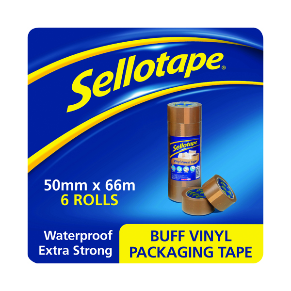 Sellotape Vinyl Case Sealing Tape 50mmx66m Brown (Pack of 6) 503846