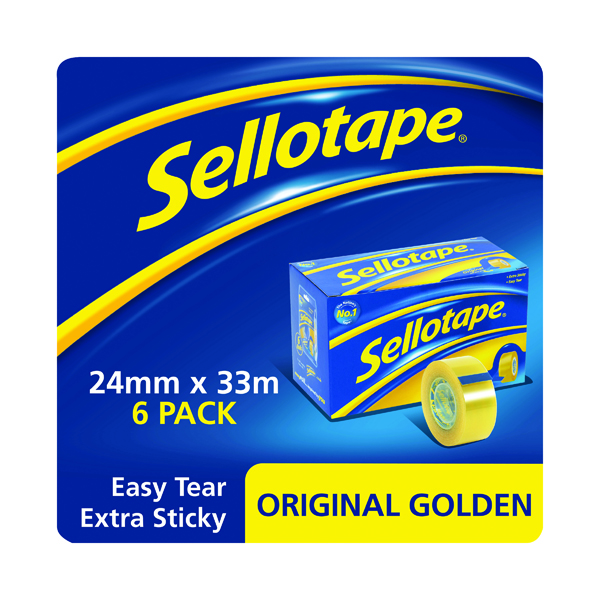 Sellotape Original Golden Tape 24mmx33m (Pack of 6) 1443254