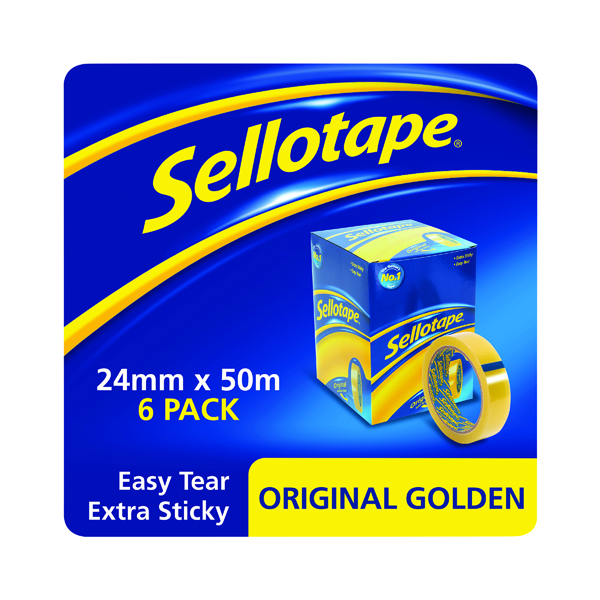 Sellotape Original Golden Tape 24mmx50m (Pack of 6) 1443266