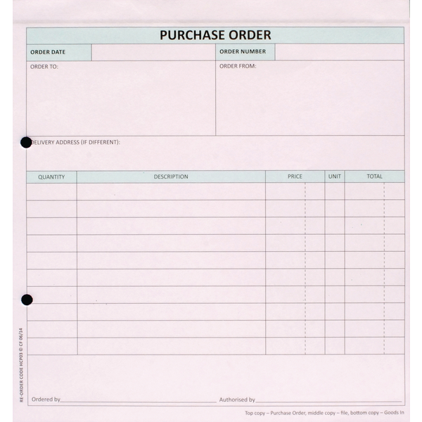 Custom Forms 3-Part Purchase Order White/Pink/Blue (Pack of 50) HCP03