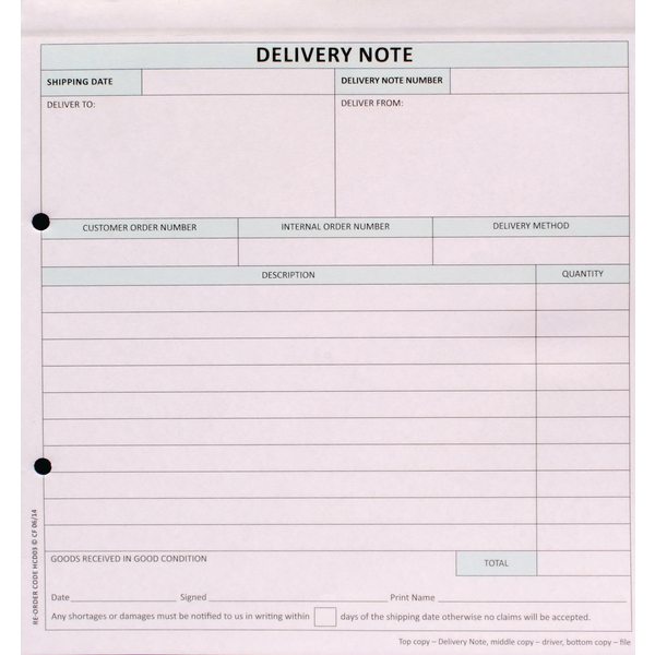 Custom Forms 3-Part Delivery Note White/Pink/Blue (Pack of 50) HCD03