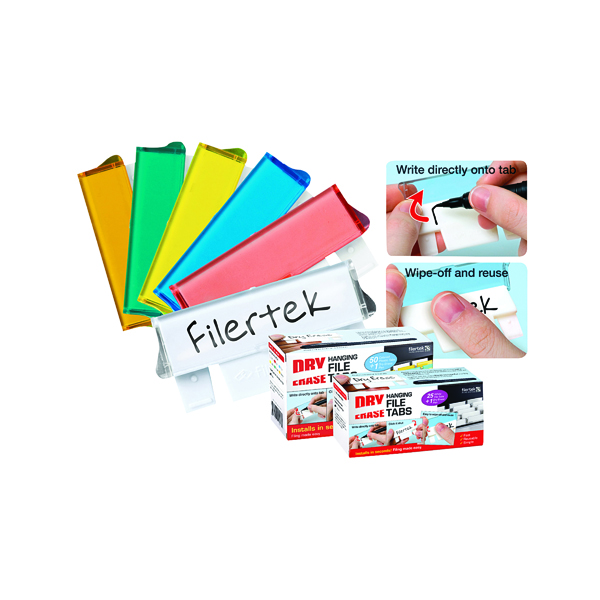 Image for Cathedral Assorted Dry Erase Suspension File Tabs (Pack of 50) FPCLIPDRY50ASS