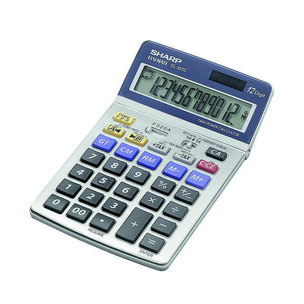 Sharp Semi-Desktop Tax Calculator 12-digit EL-337C