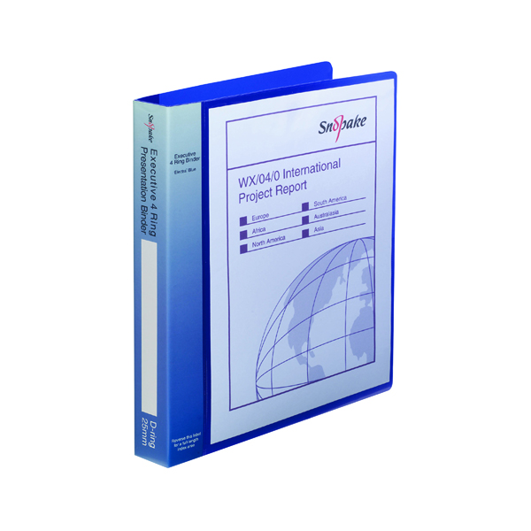 Snopake Executive Presentation 4D-Ring Binder A4 Electra Blue 13387