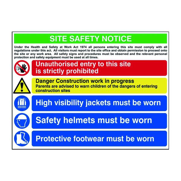 Spectrum Industrial Site Safety Notice Advanced FMX 800x600mm 4551