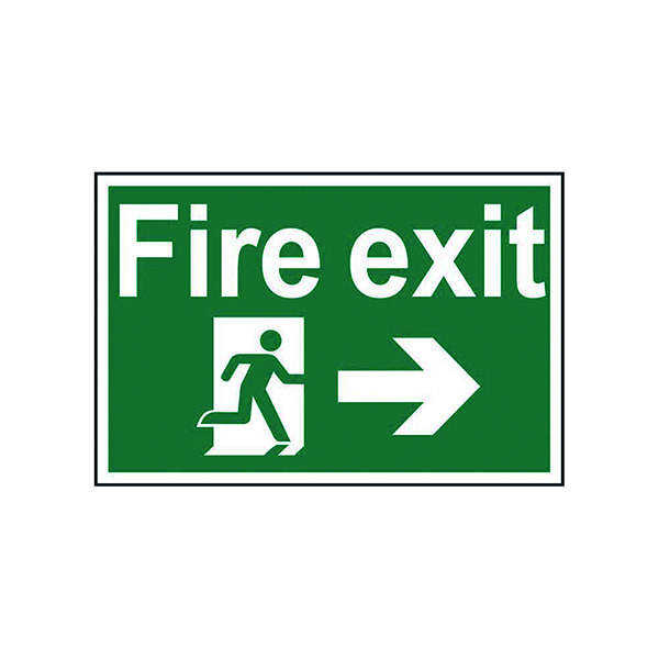 Spectrum Industrial Fire Exit RM Arrow Right S/A PVC Sign 300x200mm 1504