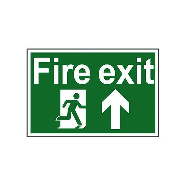 Spectrum Industrial Fire Exit RM Arrow Up S/A PVC Sign 300x200mm 1505