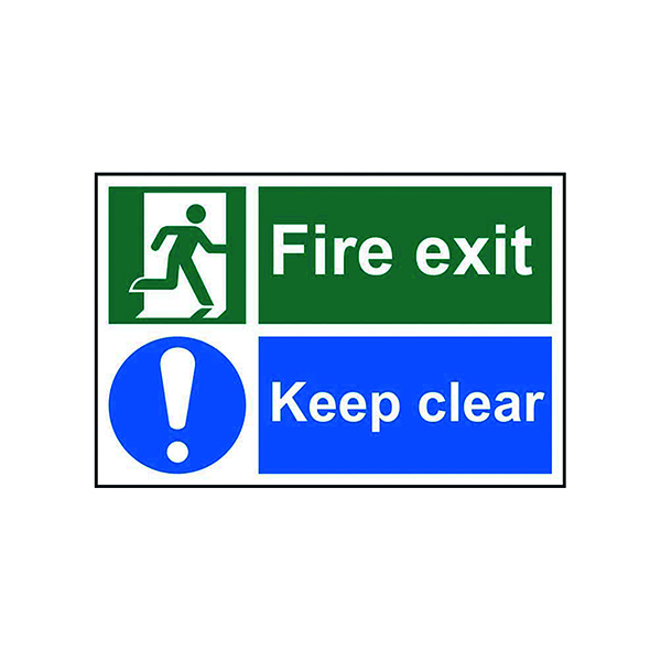 Spectrum Industrial Fire Exit Keep Clear S/A PVC Sign 300x200mm 1540