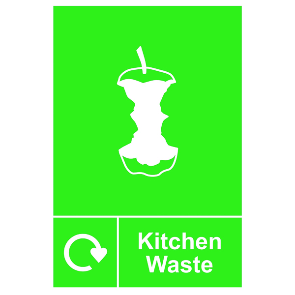 Spectrum Industrial Recycle Sign Kitchen Waste 150x200mm SAV 18172