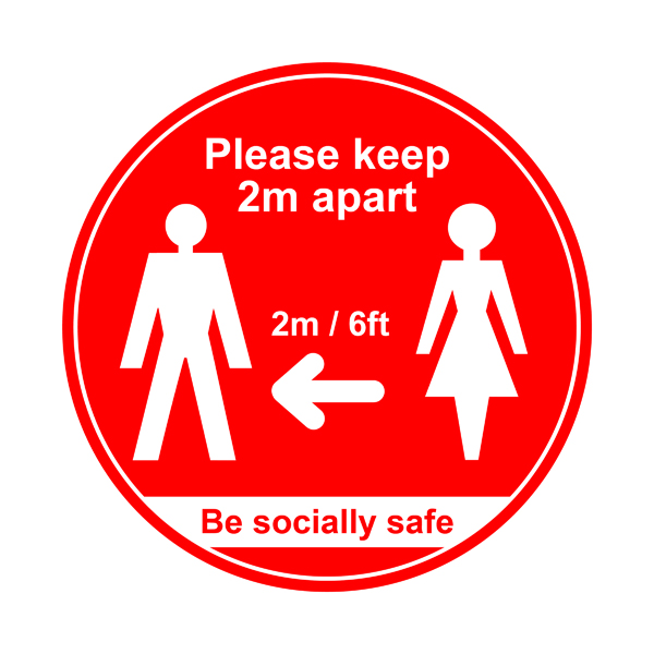 Image for 400mm Floor Graphic Please Keep 2m Apart Red STP001