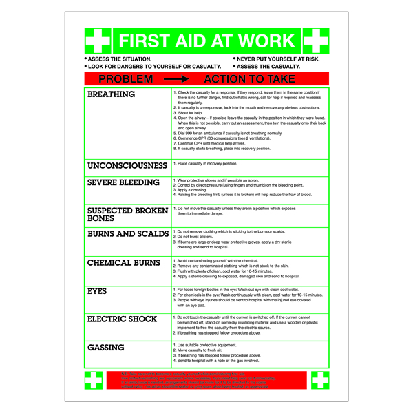 Safety Sign First Aid At Work (420 x 590mm) WC61