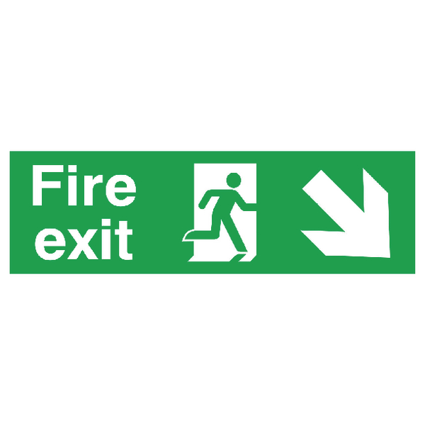 Safety Sign Fire Exit Running Man Arrow Down/Right 150x450mm PVC FX04111R