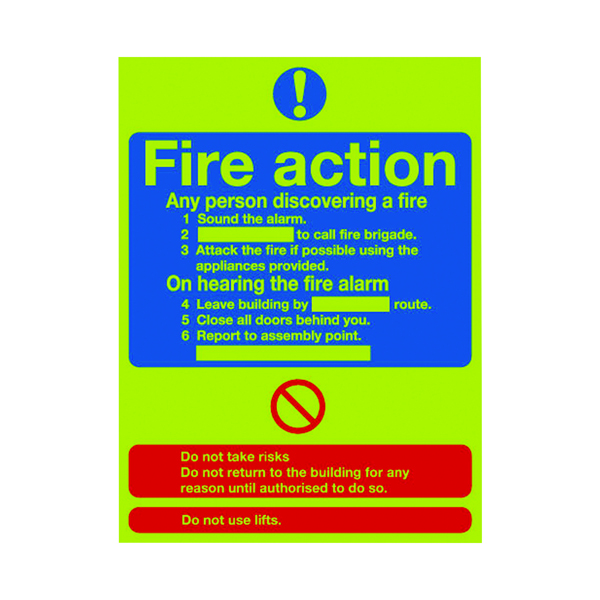 Safety Sign Niteglo Fire Action 300x250mm PVC FR03527M