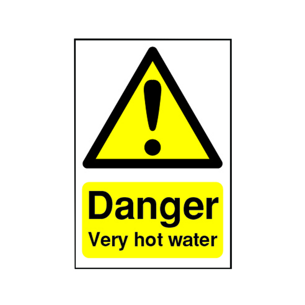 Safety Sign Danger Very Hot Water 75x50mm Self-Adhesive HA17343S