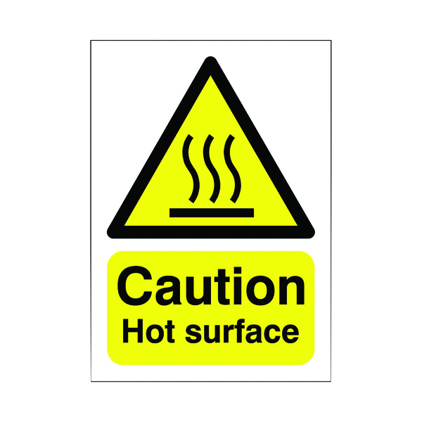 Safety Sign Caution Hot Surface A5 Self-Adhesive HA04151S