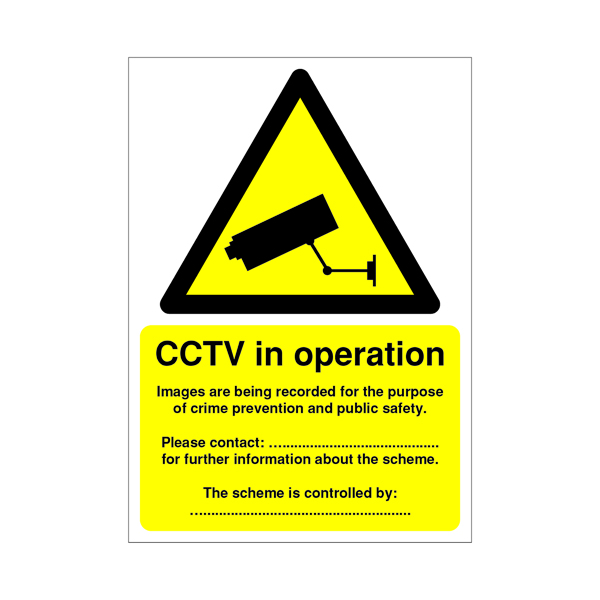 Warning Sign Data Protection Act Compliant PVC Sign A5 DPACCTVR