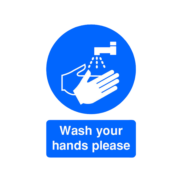 Safety Sign Wash Your Hands Please A5 Self-Adhesive MD05851S