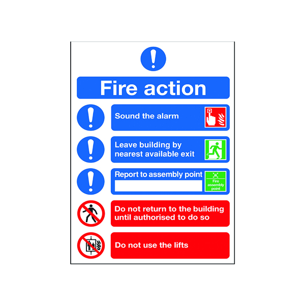 Safety Sign Fire Action Symbol A5 FR099A5