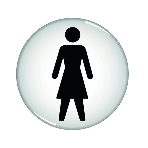 Domed Sign Women Symbol 60mm (Self-Adhesive Backing, Black Figure on White Background) RDS1
