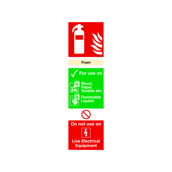 Safety Sign Fire Extinguisher Foam 280x90mm PVC F102/R