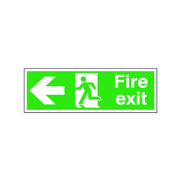 Safety Sign Fire Exit Running Man Arrow Left 150x450mm Self-Adhesive E97A/S