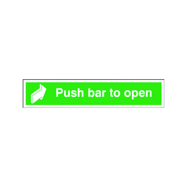 Safety Sign Push Bar to Open 75x600mm Self-Adhesive E14C/S