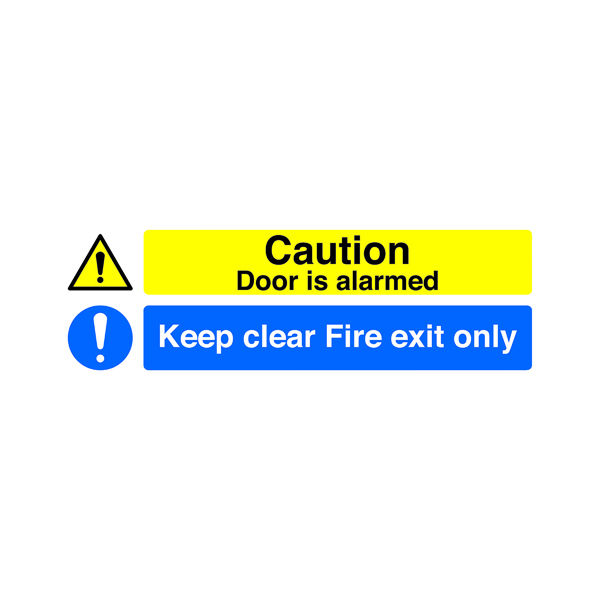 Safety Sign 150x450mm Caution Door is Alarmed Keep Clear Fire Exit Only Self-Adhesive