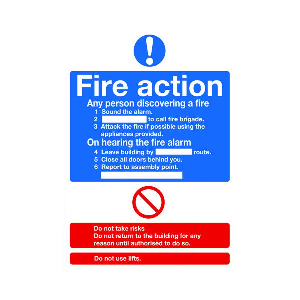 Safety Sign Fire Action Words A4 PVC FR03550R