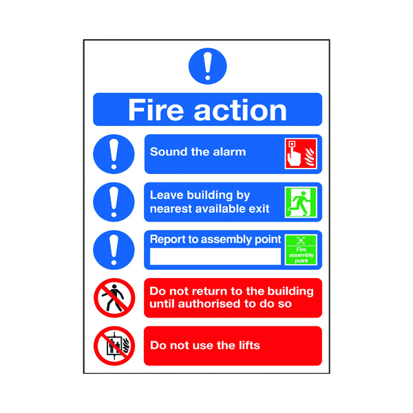 Safety Sign Fire Action Symbols A4 PVC FR09950R
