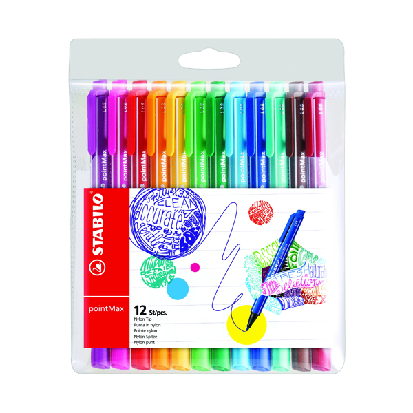 Stabilo Point Max Fineliner Pen Assorted (Pack of 12) 488/12-01