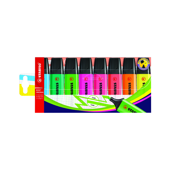 Stabilo Boss Original Highlighters Assorted (Pack of 8) 70/8