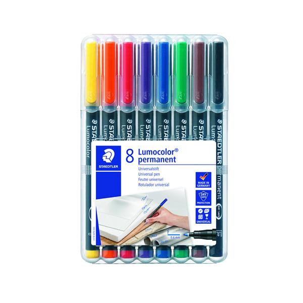 Staedtler Lumocolour Pen Permanent Fine Assorted (Pack of 8) 318-WP8
