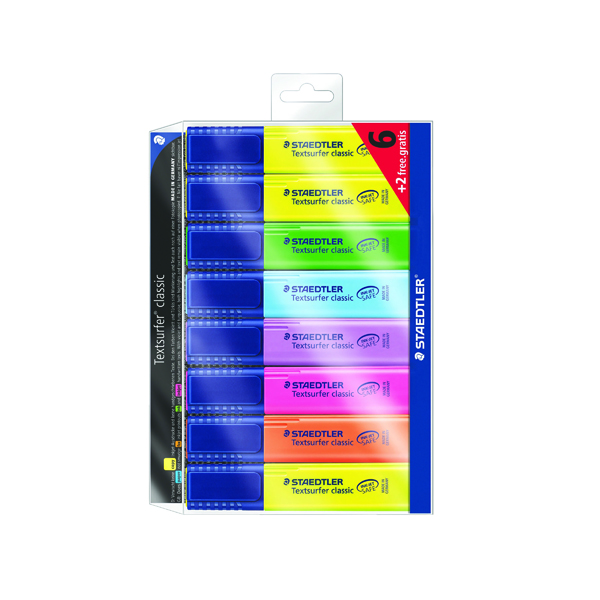 Staedtler Textsurfer Classic Highlighter Assorted (Pack of 8) 364AWP8