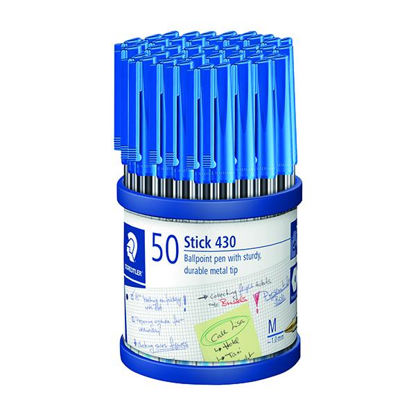 Staedtler Stick 430 Ballpoint Pen Medium Blue (Pack of 50) 430-M3