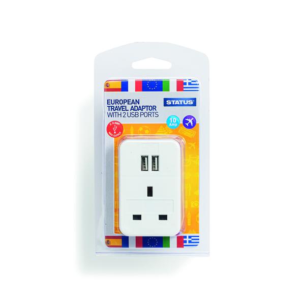 Status European USB Travel Adaptor (Pack of 3) S2USBPTEURO1PK3